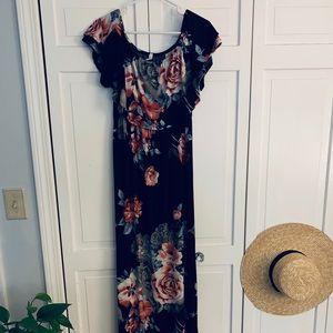 Pinkblush Off the Shoulder Floral Maxi Dress